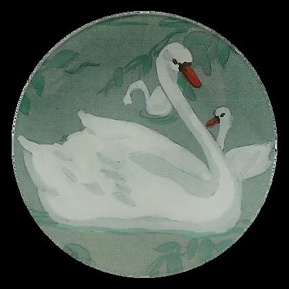John Derian Swan Decoupage Round Dish