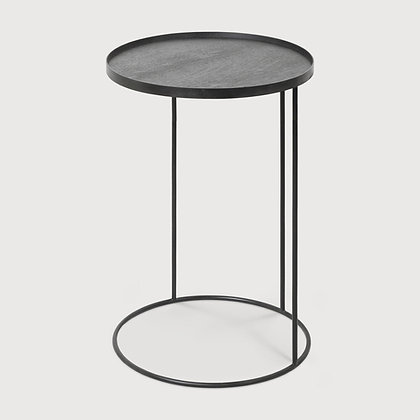 Ethnicraft Round Tray Table Base with Slate Organic Tray