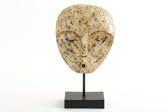 Flamant Keanu Decorative Carved Wooden  Mask on Stand