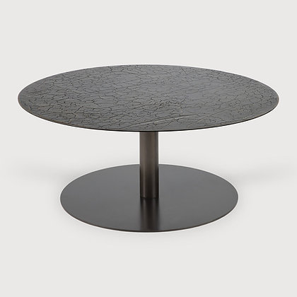 Ethnicraft Large Round Metal Lava Top Coffee Table