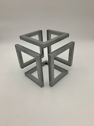 Medium Steel Infinity Cube Sculptural Ornament with Powder Coate