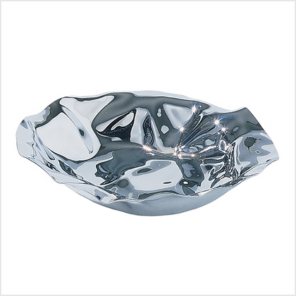 Alessi Mirror Polished Stainless Steel Crushed Steel Bowl