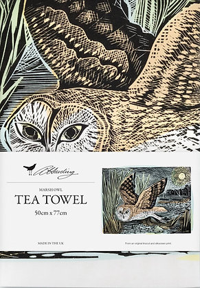Angela Harding Printed Cotton Tea Towel -Marsh Owl