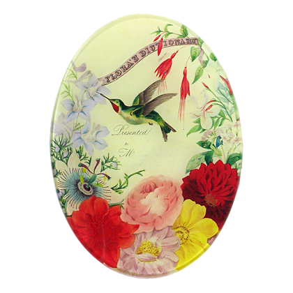John Derian Flora's Dictionary Decoupage Oval Dish