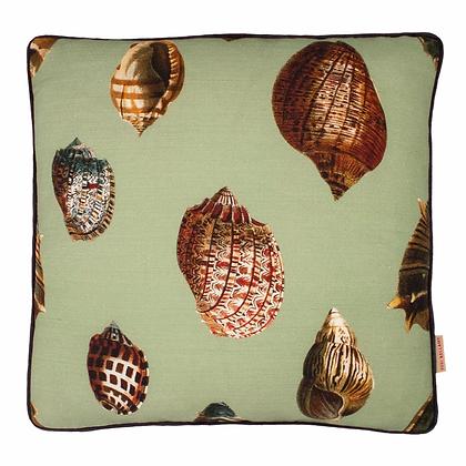 Susi Bellamy Sea Green Shell Printed Linen Cushion