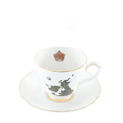 Ali Miller London Fine Bone China Home Sweet Hom Tea Cup and Sauce