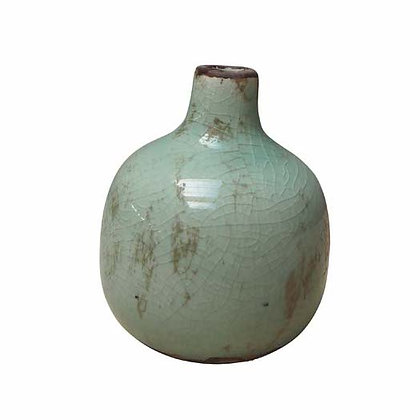Small Pale Green Ceramic Vase with Crackle Finish