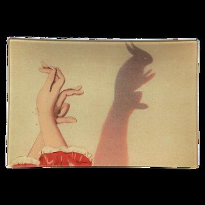 John Derian Bunny Shadow Puppet Decoupage Rectangular GlassTray