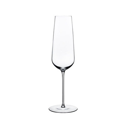Set of 2 Lead Free Crystal Stem Zero Champagne Flutes