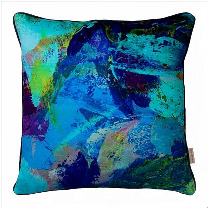 Susi Bellamy Azure Abstract Printed Velvet Cushion