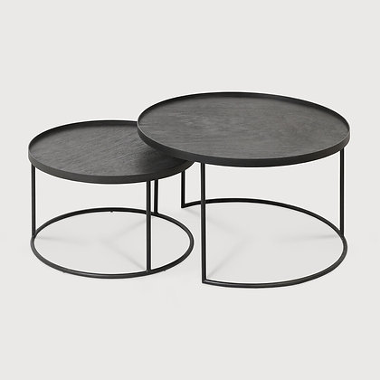 Ethnicraft Set of 2 Round Tray Table Bases with Slate and Graphite Organic Trays
