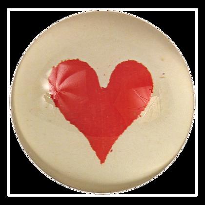 John Derian Suits Heart  Decoupage Domed Paperweight