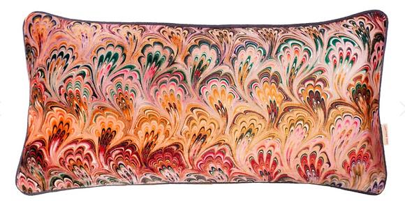 Susi Bellamy Peacock Bouquet Printed Velvet Medium Oblong Cushion