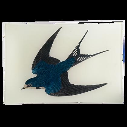 John Derian Barn Swallow Decoupage Rectangular GlassTray