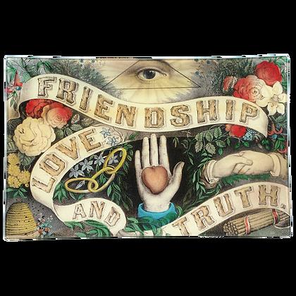 John Derian Friendship, Love and Truth Decoupage Rectangular Tray