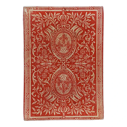 John Derian Card Back Red Fleur de Lys Decoupage Rectangular Dish