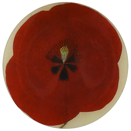 John Derian Red Poppy Centre Decoupage Round Plate