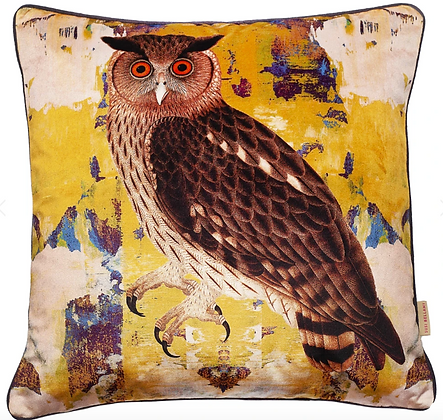 Susi Bellamy Eagle Owl Printed Velvet Cushion