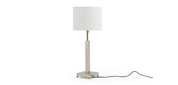 Flamant Nickel Plated Lamp with White Cylinder Shade