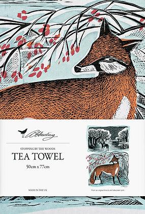 Angela Harding Printed Cotton Tea Towel - Stopping By The Woods