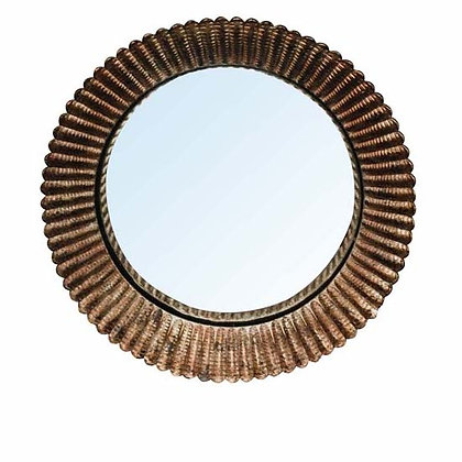 Small Round Convex Mirror with Fluted Frame