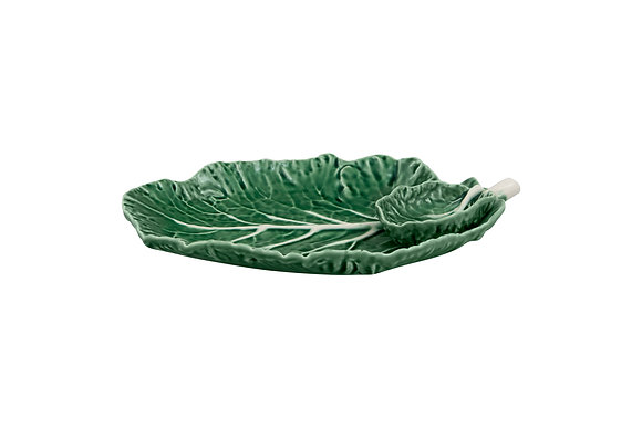 Bordallo Pinheiro Hand Painted Earthenware Cabbage Leaf Dish with Bowl