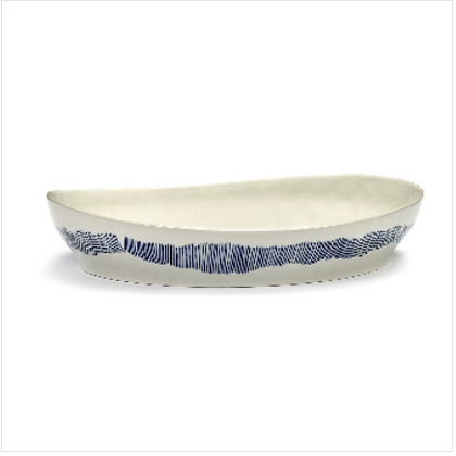 Feast by Ottolenghi Small Earthenware Blue Stripes  Serving Plate