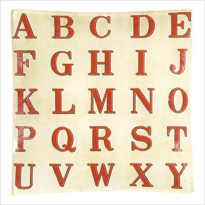 John Derian Red Alphabet Vide de Poche Square Decoupage Glass Tray