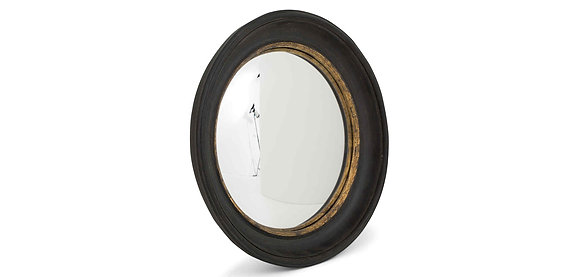 Flamant Convex Mirror with Black Wooden Frame and Gold Detail