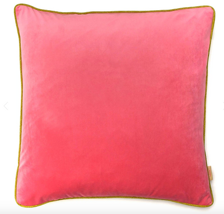Susi Bellamy Pink Plain Velvet Cushion