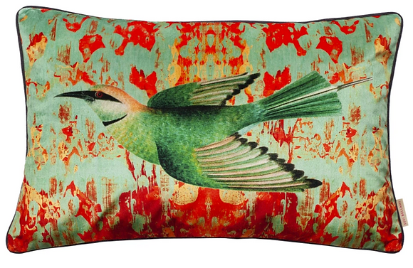 Susi Bellamy Little Bee Eater Printed Velvet Cushion