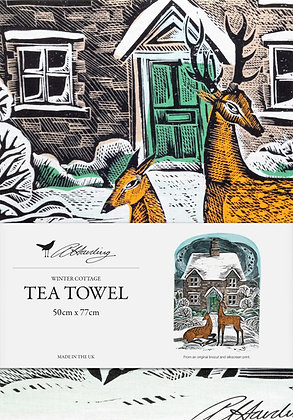 Angela Harding Printed Cotton Tea Towel - Winter Cottage