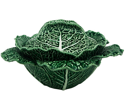 Bordallo Pinheiro Hand Painted Earthenware Cabbage Leaf Tureen 2lts