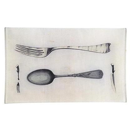 John Derian Fork Spoon Knife Fork Decoupage Rectangular Tray