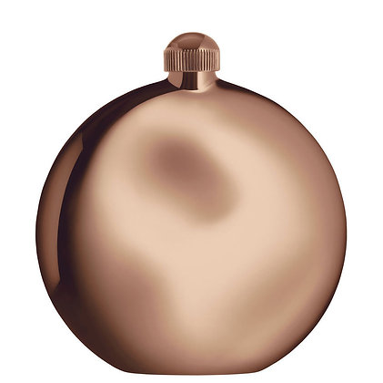 Alessi Polished Stainless Steel Shot Hip Flask with Funnel Rose Gold Finish