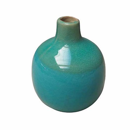 Small Sea Green Ceramic Vase with Crackle Finish