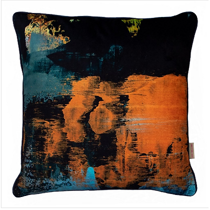 Susi Bellamy Dusk Scape Printed Velvet Cushion
