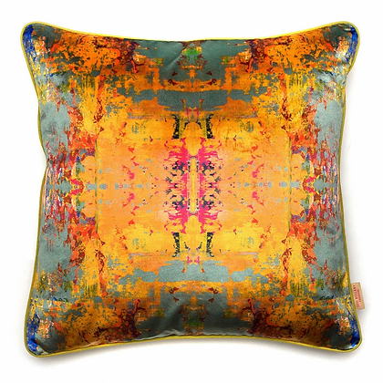 Susi Bellamy Grey Stucco Kaleidoscope Printed Velvet Cushion