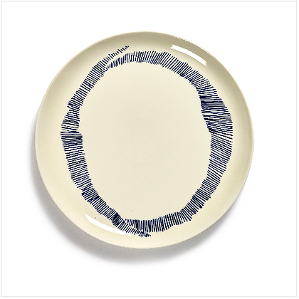 Feast by Ottolenghi Large Earthenware Blue Stripes Plate