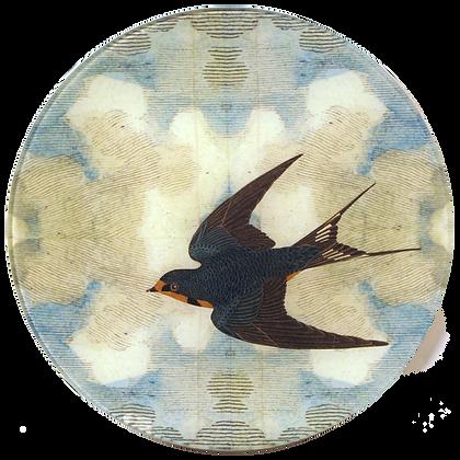 John Derian Swallow in Flight (Flying Left) Decoupage Round Plate