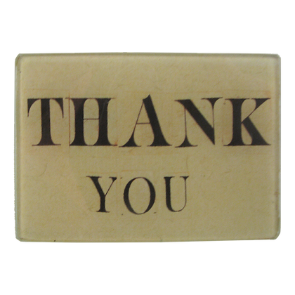 John Derian Thank You Small Decoupage Glass Tray
