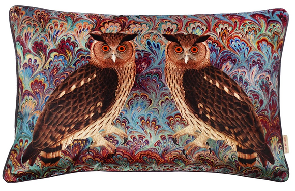 Susi Bellamy Twin Eagle Owl Teal Bouquet Printed Velvet Cushion