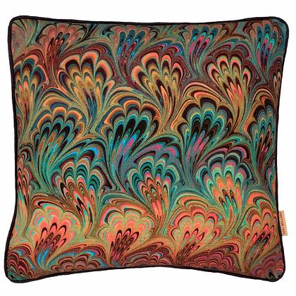 Susi Bellamy Teal Bouquet Printed Linen Cushion