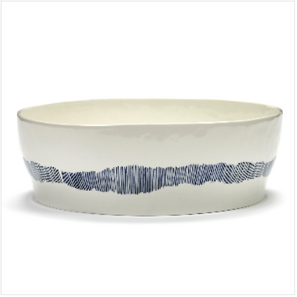 Feast by Ottolenghi Earthenware Blue Stripes Salad Bowl