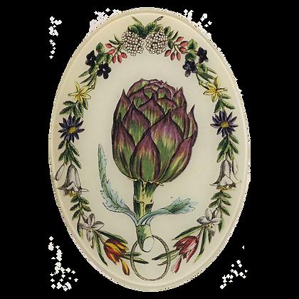 John Derian Artichoke Decoupage Oval Dish