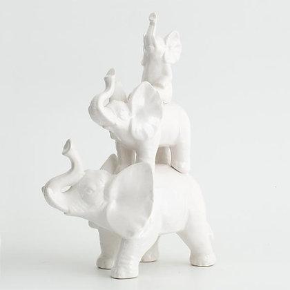 Flamant White Glazed Porcelain Elephants