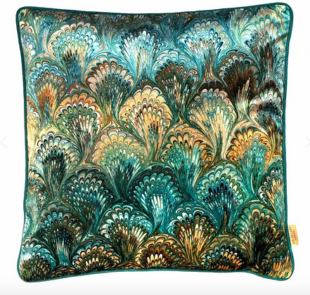 Susi Bellamy Duck Egg Bouquet Printed Velvet Cushion
