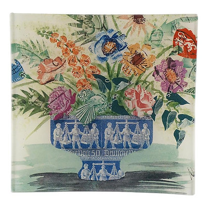 John Derian Stamp Bouquet Vide de Poche Square Decoupage Glass Tray