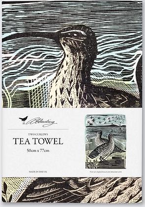 Angela Harding Printed Cotton Tea Towel - Two Curlews