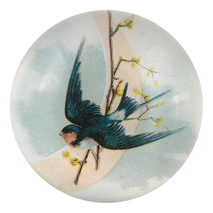 John Derian Swallow on the Moon Decoupage Domed Paperweight